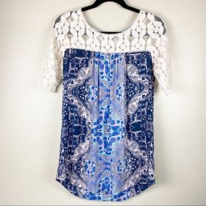 AKEMI + KIN Anthro Maite Lace Tunic Top M Boho